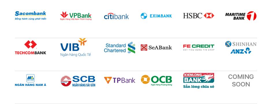 nhận thanh toán tất cả các ngân hàng
